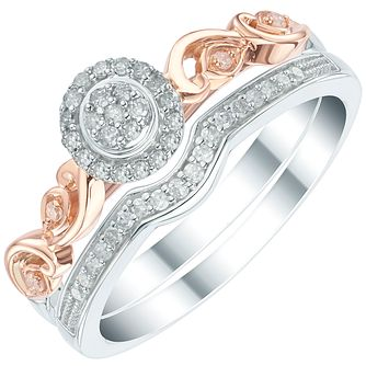 Perfect Fit 9ct White and Rose Gold 1/5ct Diamond Bridal Set - Product number 6022421