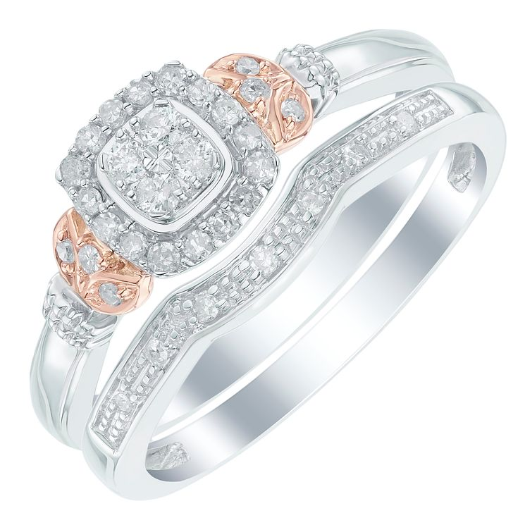 Perfect Fit 9ct White and Rose Gold 1/5ct Diamond Bridal Set - Product number 6022944