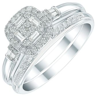 Perfect Fit 9ct White Gold 1/3ct Diamond Cushion Bridal Set - Product number 6023606
