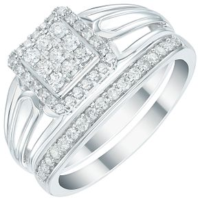 Perfect Fit 9ct White Gold 2/5 Diamond Square Cut Bridal Set - Product number 6023746