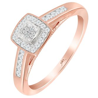 Princessa Rose Gold Cluster 0.25ct Diamond Ring - Product number 6027555