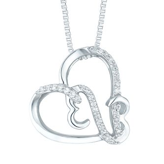 Open Hearts Silver 0.6ct Diamond Pendant - Product number 6027725