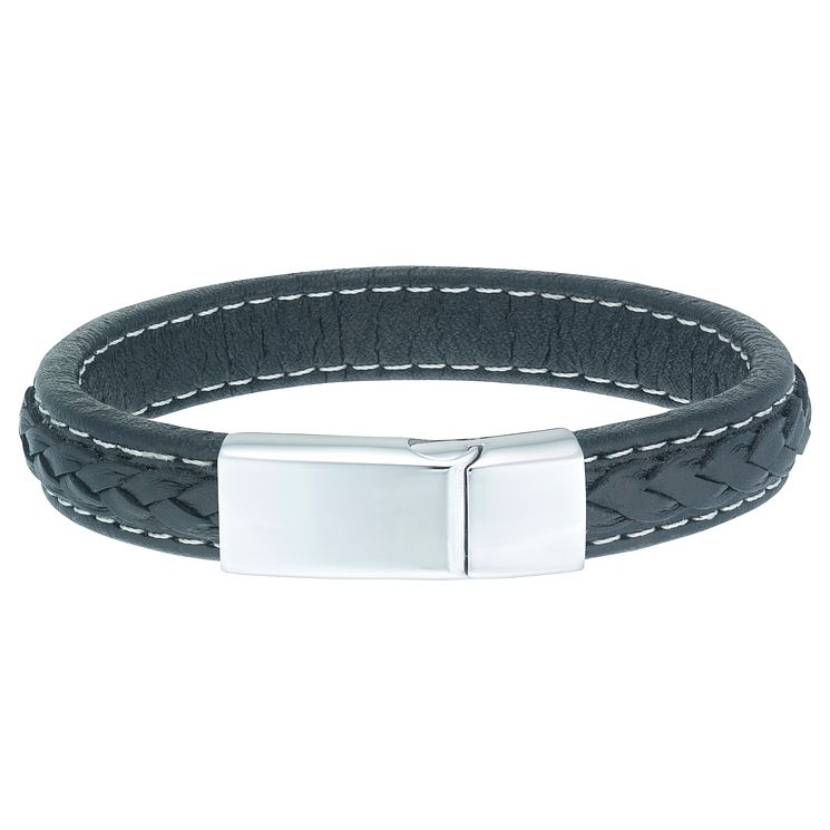 Stainless Steel & Black Leather Bracelet - Product number 6035108