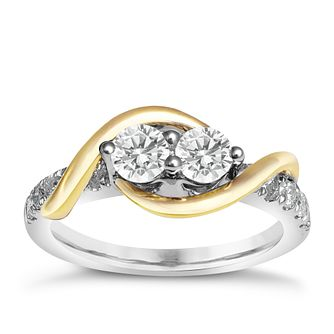 Ever Us 14ct yellow & white gold 1ct two stone diamond ring - Product number 6038026