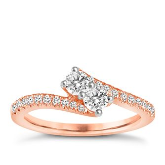 Ever Us 14ct rose gold 0.50ct two stone diamond ring - Product number 6039022