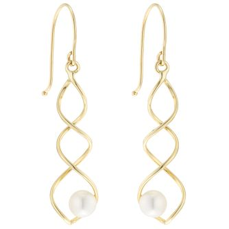 9ct Gold Cultured Freshwater Pearl Spiral Drop Earrings - Product number 6046231
