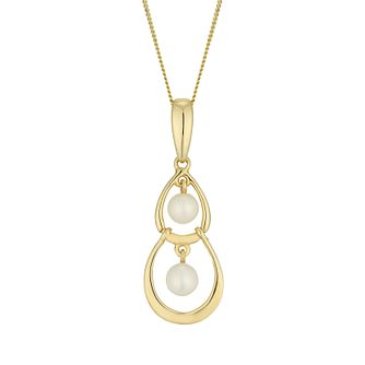 9ct Gold Cultured Freshwater Pearl Double Drop Pendant - Product number 6046444