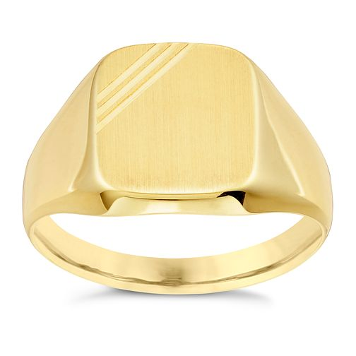 9ct Gold Line Detail Signet Ring - Product number 6046681