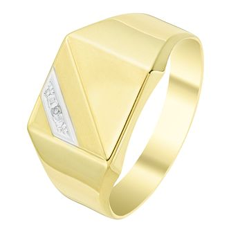 9ct Gold Diamond Set Square Signet Ring - Product number 6047084