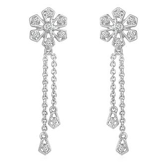 Emmy London Sterling Silver Diamond Flower Drop Earrings - Product number 6047777