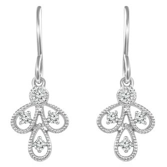 Emmy London Sterling Silver Diamond Set Drop Earrings - Product number 6047807