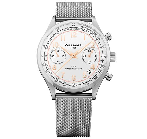 William L Vintage Chronograph Men's Mesh Bracelet Watch - Product number 6050492