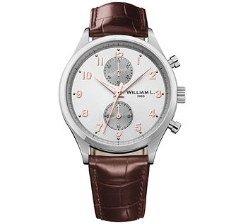 William L Small Chronograph Men's Leather Strap Watch - Product number 6050549