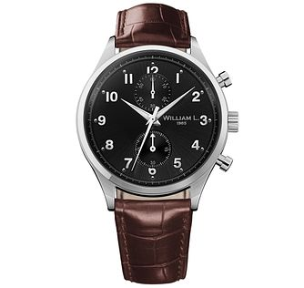 William L Small Chronograph Men's Leather Strap Watch - Product number 6050565