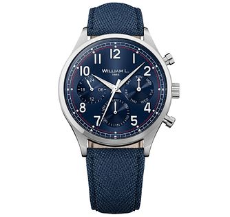 William L Vintage Calendar Men's Blue Fabric Strap Watch - Product number 6050654