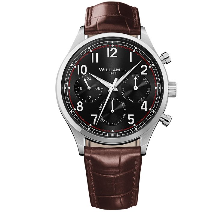 William L Vintage Calendar Men's Brown Leather Strap Watch - Product number 6050689
