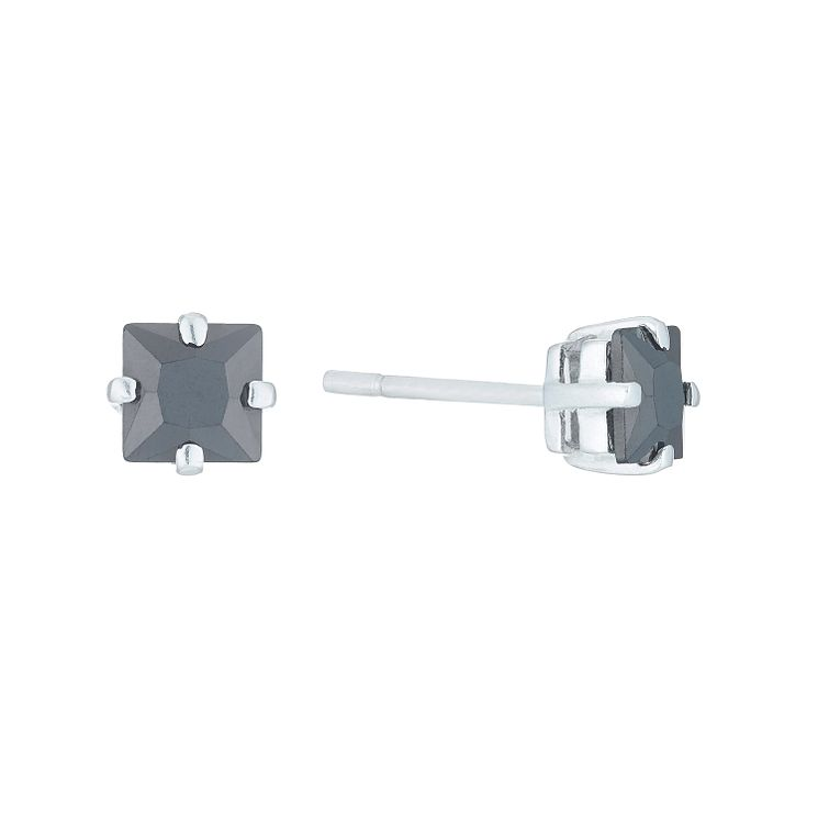 Sterling Silver Black Cubic Zirconia Square Stud Earrings - Product number 6053580