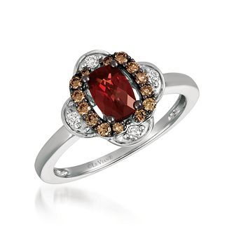 14ct Vanilla Gold 1/5ct Diamond & Pomegranate Garnet Ring - Product number 6054811