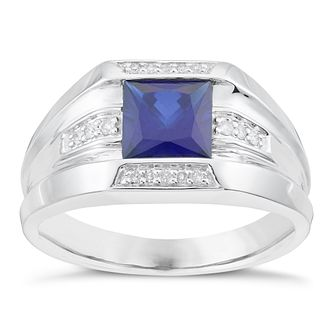 Sterling Silver Sapphire & Diamond Ring - Product number 6056350