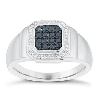 Sterling Silver Black Sapphire & Diamond Set Ring - Product number 6056482