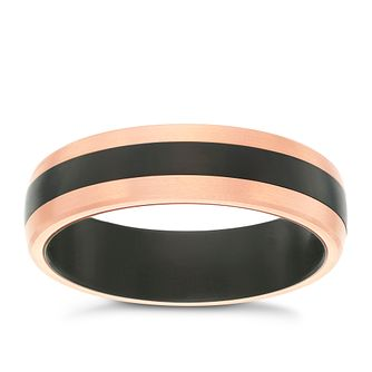 Black Titanium & Rose Gold 6mm Band - Product number 6058736