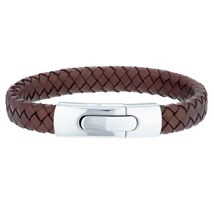 Men's Brown Leather and Stainless Steel 12mm Bracelet - Product number 6059147