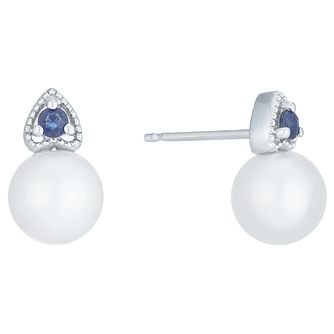 9ct White Gold Cultured Freshwater Pearl Sapphire Earrings - Product number 6074715