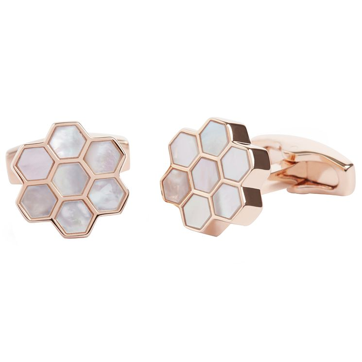Simon Carter Honeycomb Rose Gold Plated Cufflinks - Product number 6080588
