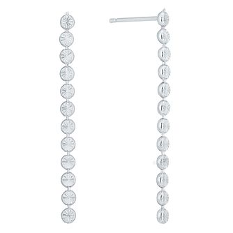 Sterling Silver Diamond Cut Flat Drop Earrings - Product number 6081436