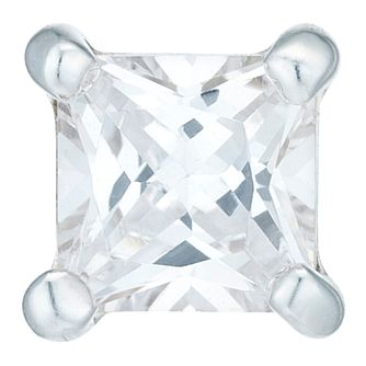 Sterling Silver Cubic Zirconia 3mm Square Single Earring - Product number 6081517