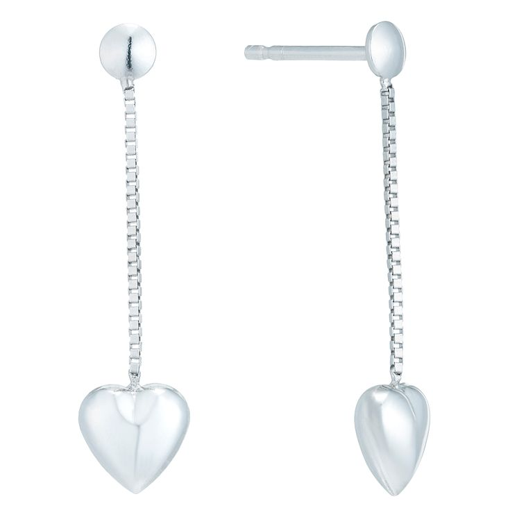 Sterling Silver Heart Shaped Threaded Long Drop Earrings - Product number 6081592