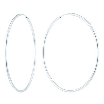 Sterling Silver 50mm Plain Hoop Earrings - Product number 6081622