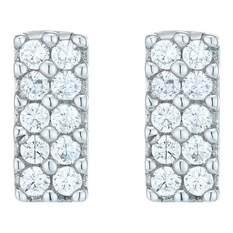 Sterling Silver Cubic Zirconia Set Bar Stud Earring - Product number 6081894