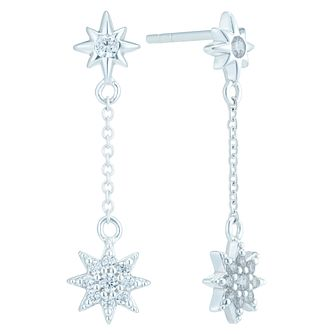 Sterling Silver Star Cubic Zirconia Long Drop Earrings - Product number 6081932