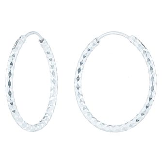 Sterling Silver Diamond Cut 27mm Hoop Earrings - Product number 6082874