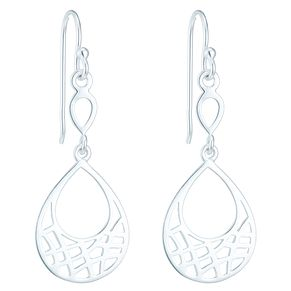 Sterling Silver Criss Cross Cut Out Teardrop Earrings - Product number 6082912