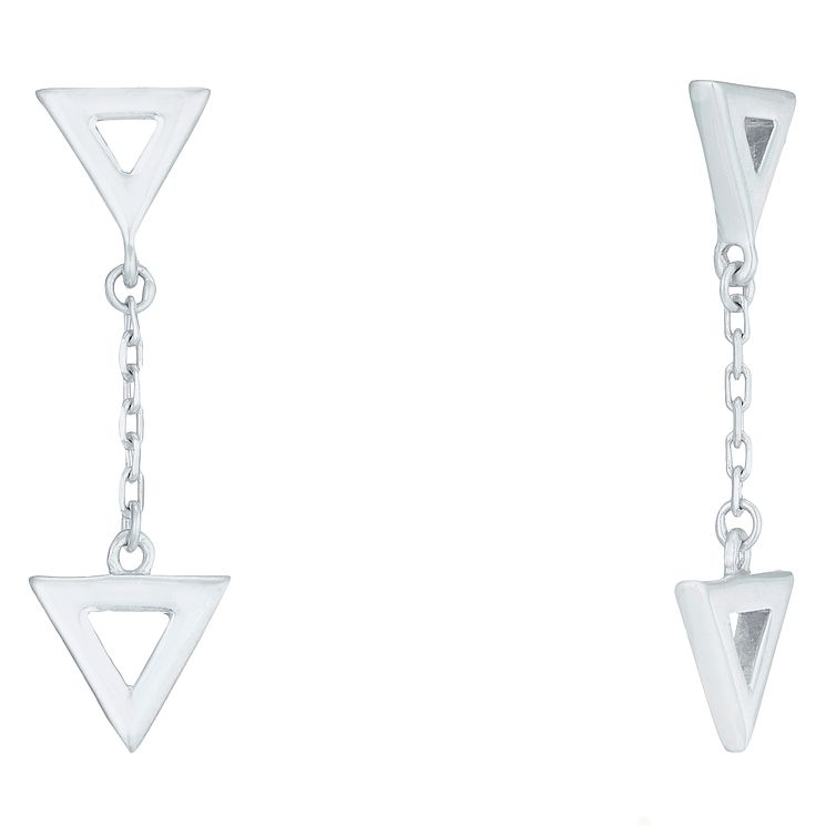 Sterling Silver Double Triangle Hanging Drop Earrings - Product number 6082939