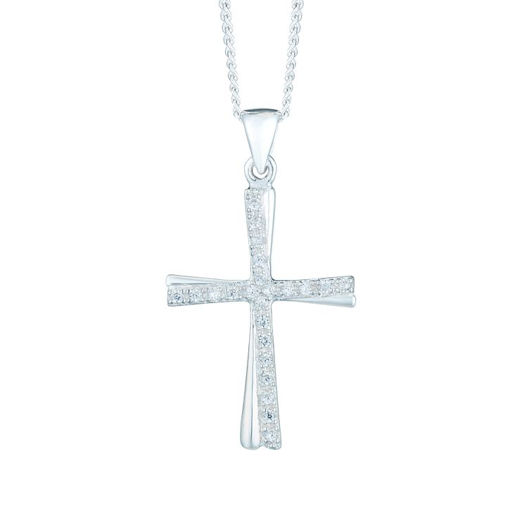 Sterling Silver Cubic Zirconia Cross Pendant - Product number 6082955