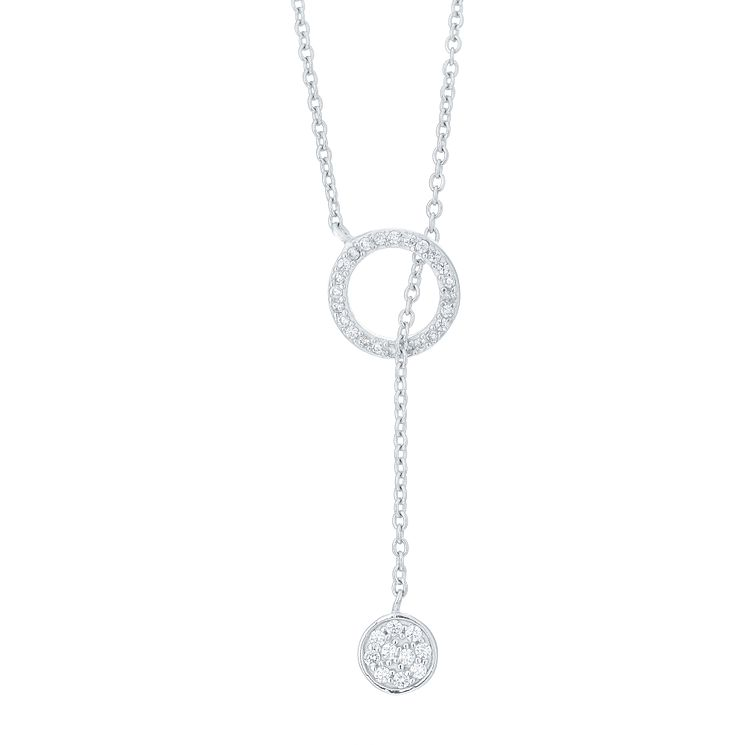 Sterling Silver Cubic Zirconia Round Lariat Necklace - Product number 6083315