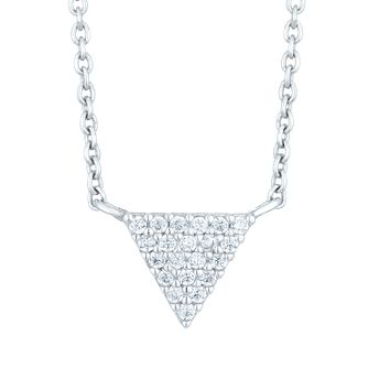Sterling Silver Cubic Zirconia Triangle Necklace - Product number 6083757