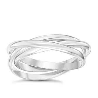 Sterling Silver Intertwined Russian 3 Band Ring Size P - Product number 6083935