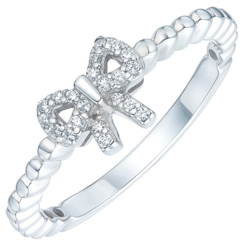 Sterling Silver Cubic Zirconia Bow Ring Size N - Product number 6084125