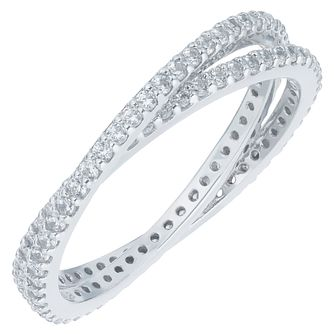 Sterling Silver Cubic Zirconia Double Russian Band Size N - Product number 6084168