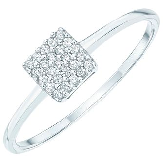 Sterling Silver Cubic Zirconia Pave Square Ring Size N - Product number 6084281
