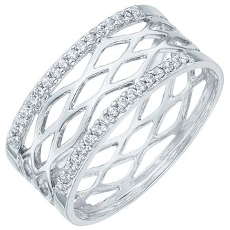 Sterling Silver Cubic Zirconia Set Cut Out Band Size N - Product number 6084818