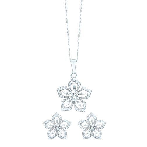 Sterling Silver Cubic Zirconia Flower Earring & Pendant Set - Product number 6084842