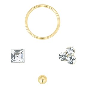 9ct Gold Hoop, Square Crystal, Trio Stud & Ball Nose Studs - Product number 6084907