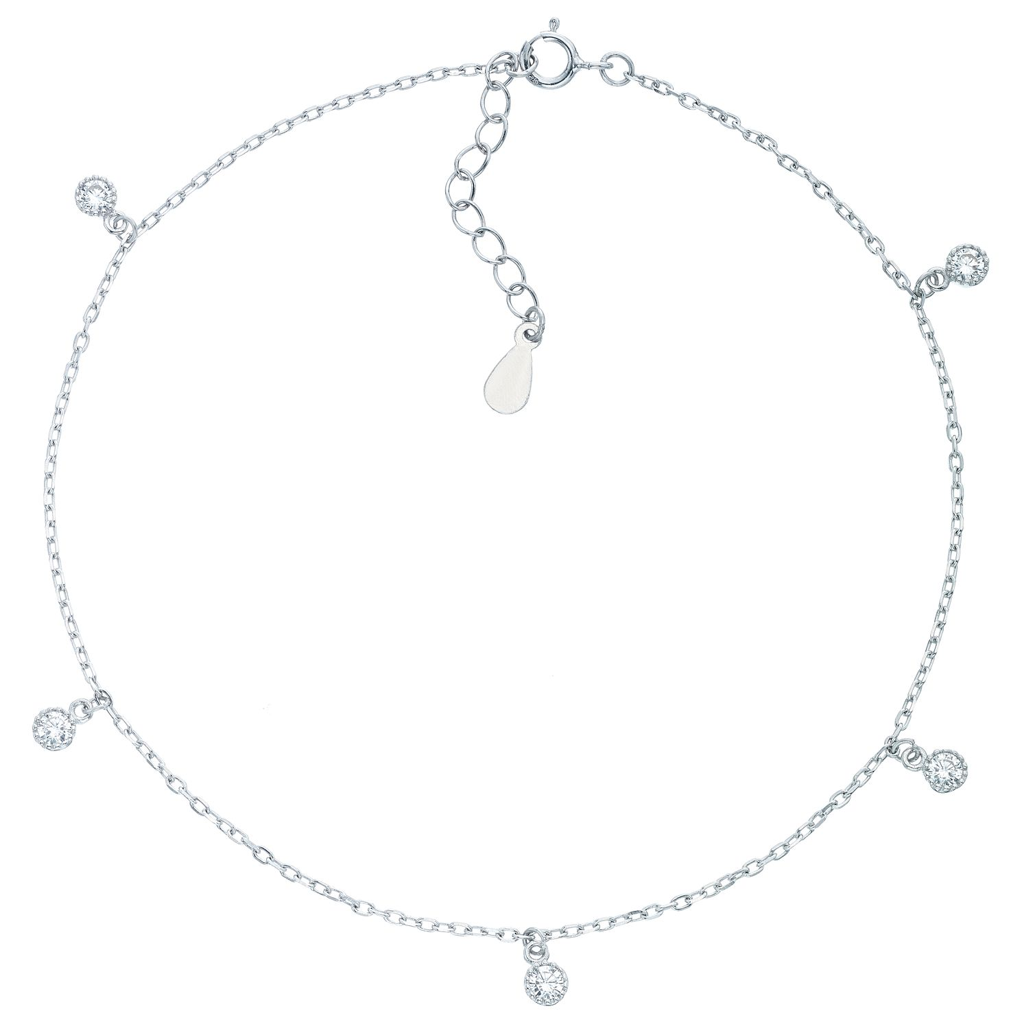 pin anklet round lifestyle chain zirconia cubic shiny multi finish cable rhodium color