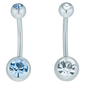 Stainless Steel Double Crystal Blue & White Belly Bar Set - Product number 6085008