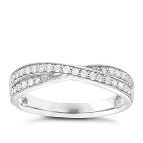 9ct White Gold 1/5 Carat Diamond Set Crossover Band - Product number 6085733